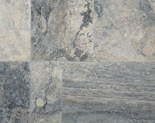 Travertine Silver French Pattern Set Brushed (Semi-filled)